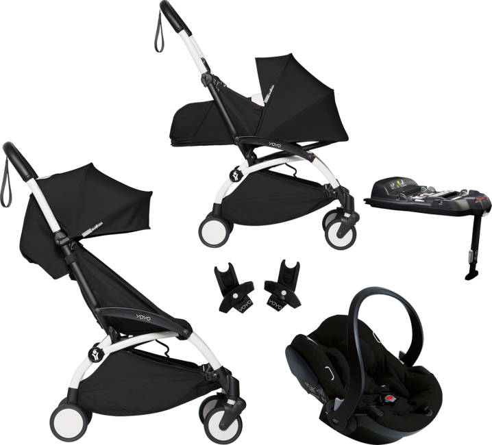 Babyzen YoYo2 complete carseat bundle white frame - black