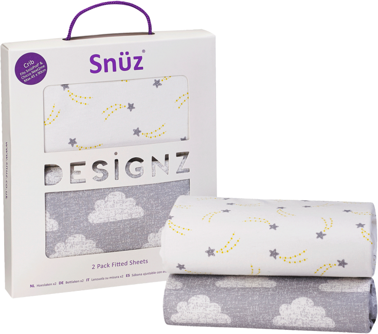 Snüzpod 3  Baby Crib Fitted Sheet - Pack of 2