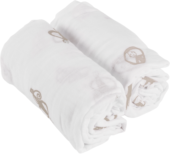 Matchstick Monkey Organic Cotton Swaddle Blanket with Teething Label